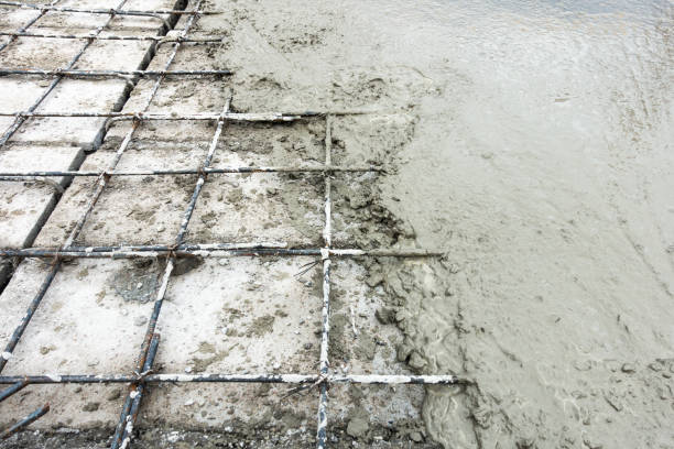 Concrete slab paving on hollow core slab flooring. stock photo