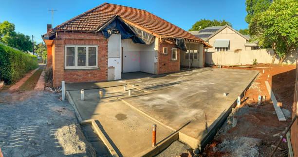 Concrete Slab Preparation For a House Renovation stock photo