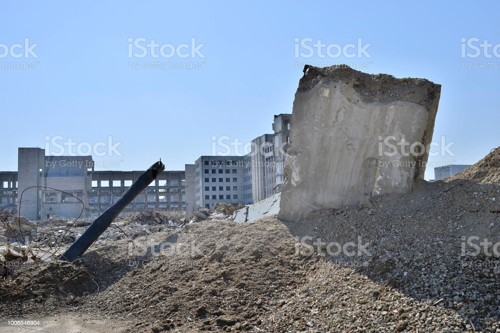 Concrete Slab Walls Of The Building Separately Sticking Out