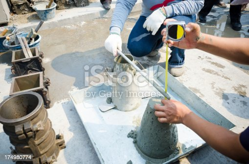 Concrete slump test before pouring a foundation
