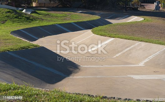 View of the oldest snake run in Australia for recreational skateboarding in Kingscote, Kangaroo Island