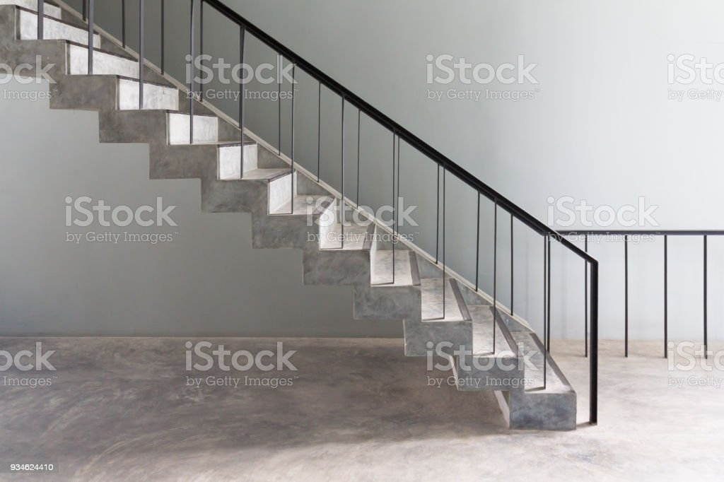 Concrete Stair Steps And Black Steel Ladder Handle Loft ...