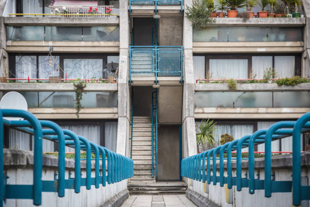 Concrete staircase at Alexandra Road estate, a brutalist architecture in London stock photo