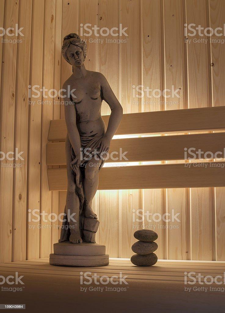 concrete statute in sauna royalty-free stock photo