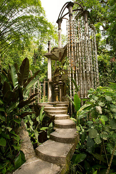 concrete structure in the jungle unfinished surreal concrete structure in the jungle at Las Pozas, Mexico san luis potosi stock pictures, royalty-free photos & images