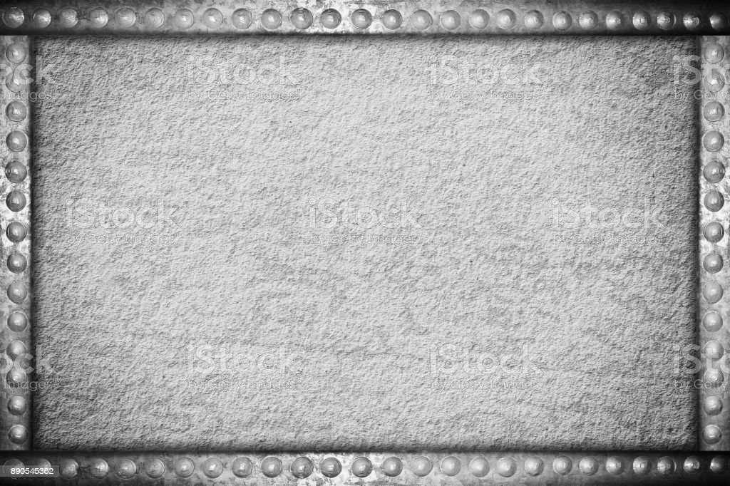 concrete texture with metal rivets frame stock photo