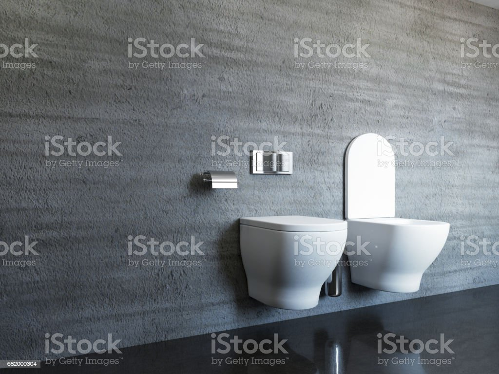 Concrete tiles in modern, spacious bathroom. 3D rendering stock photo