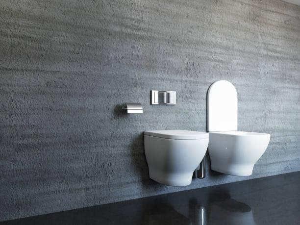 Telhas de concretas na moderna e espaçosa casa de banho. Renderização 3D - foto de acervo