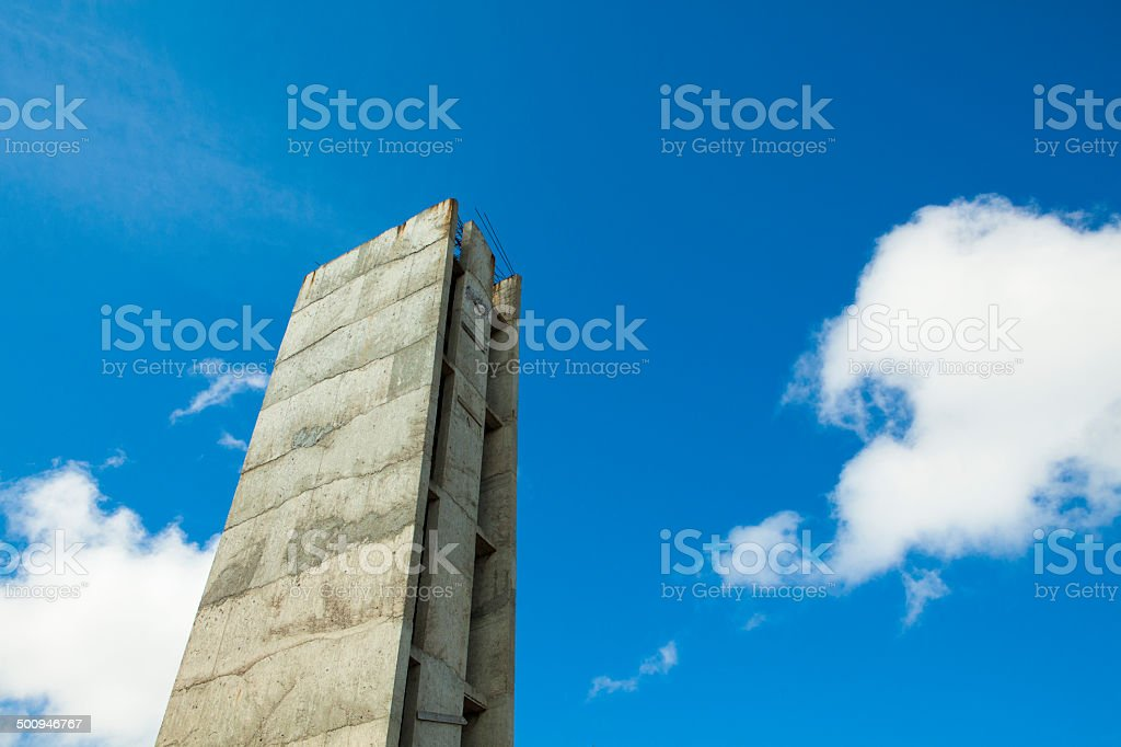 Concrete tower and blue sky stock photo
