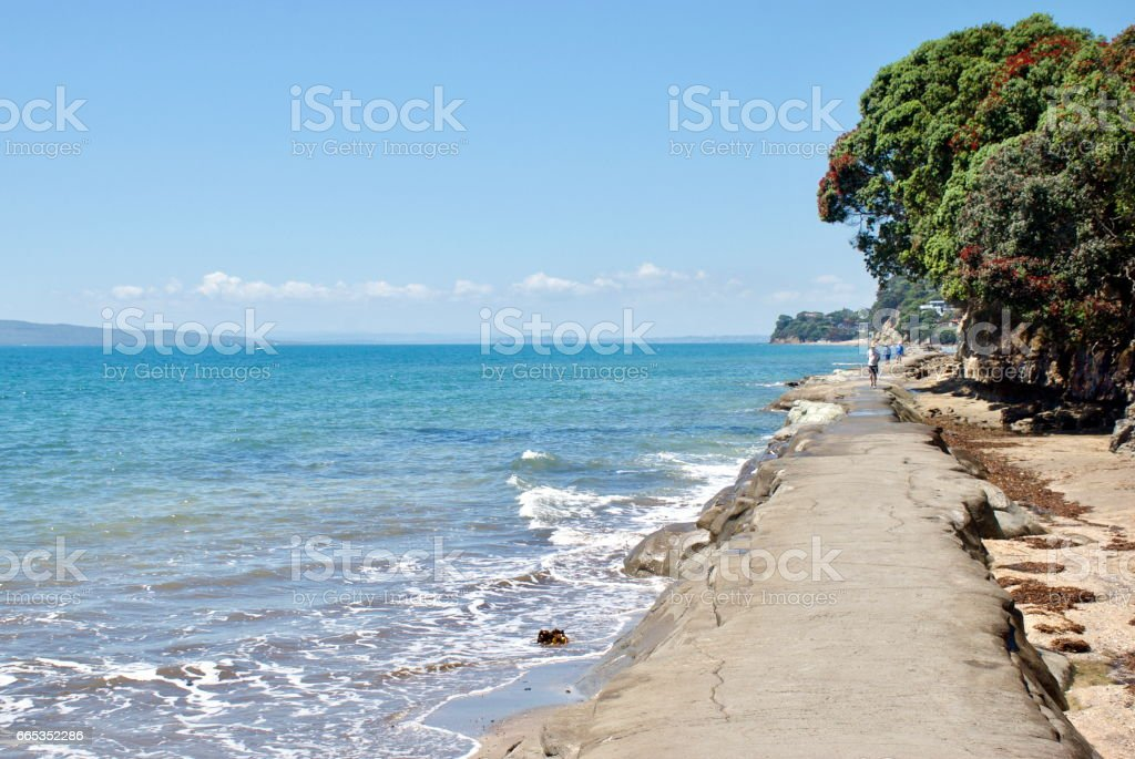 A  Concrete Walkway in the Sea, North Shore City, Auckland, New Zealand stock photo