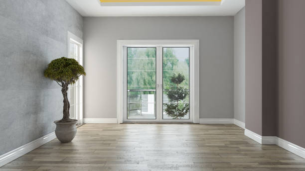 Concrete wall and painting wall together empty room interior design with wooden floor and plant 3D rendering stock photo