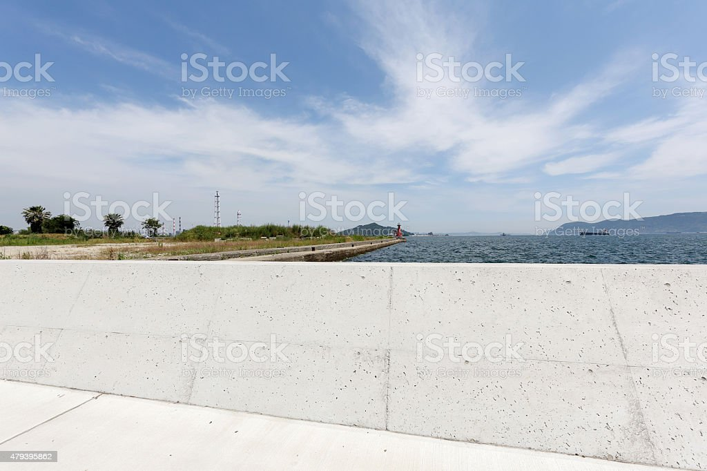 concrete wall for protect stock photo