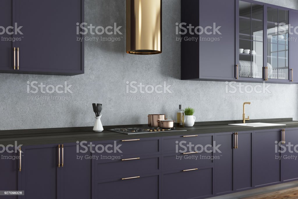 Concrete Wall Kitchen Purple Countertops Close Up Stock Photo More