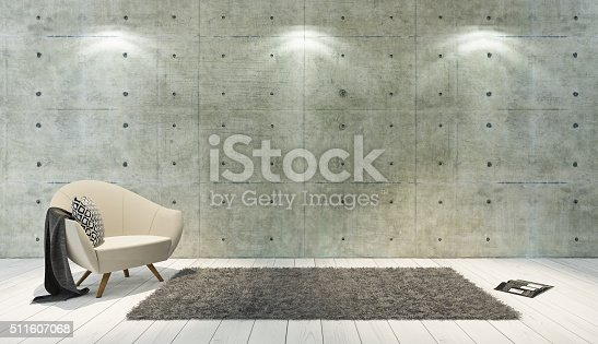 istock concrete wall loft style decor with single seat 511607068