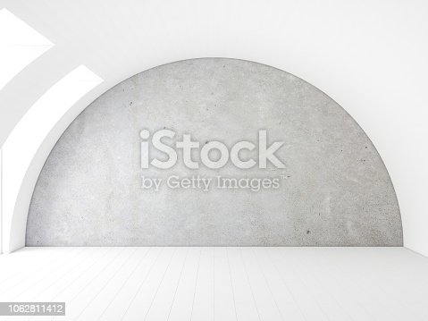 istock Concrete wall Mockup in white room with arched ceiling 1062811412