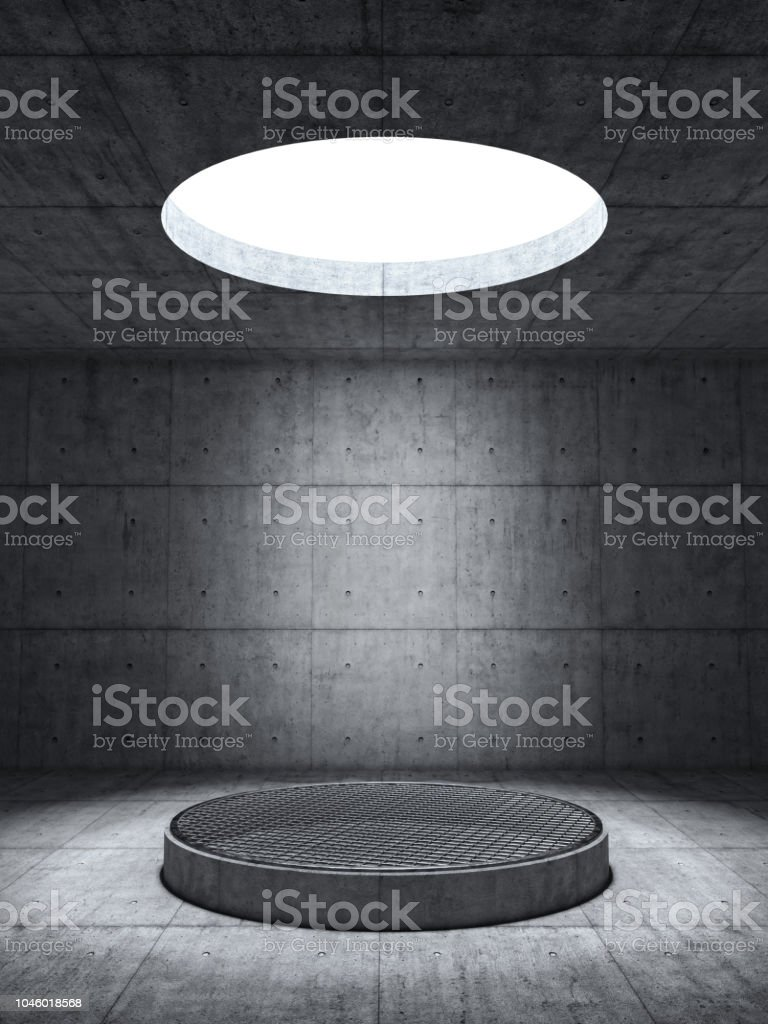 Concrete Wall Room with Pedestal stock photo