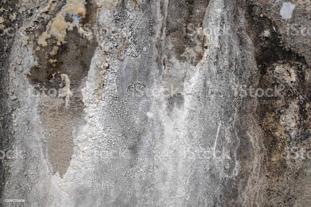 Close-up on a concrete wall suffering from water damage.