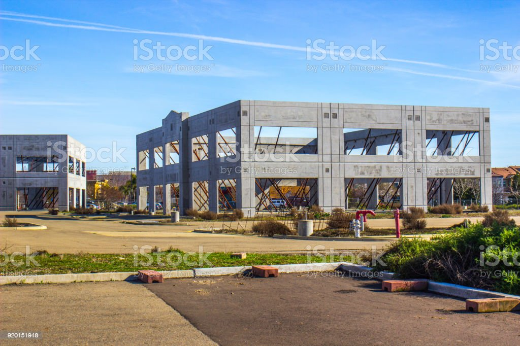 Concrete Walls On Abandoned Office Complex stock photo
