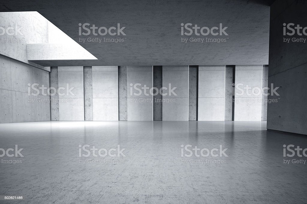 Concrete walls room internal 3D stock photo