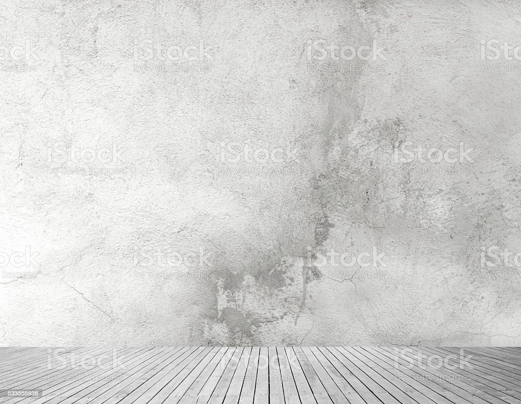 ConcreteWall And Wooden Floor stock photo