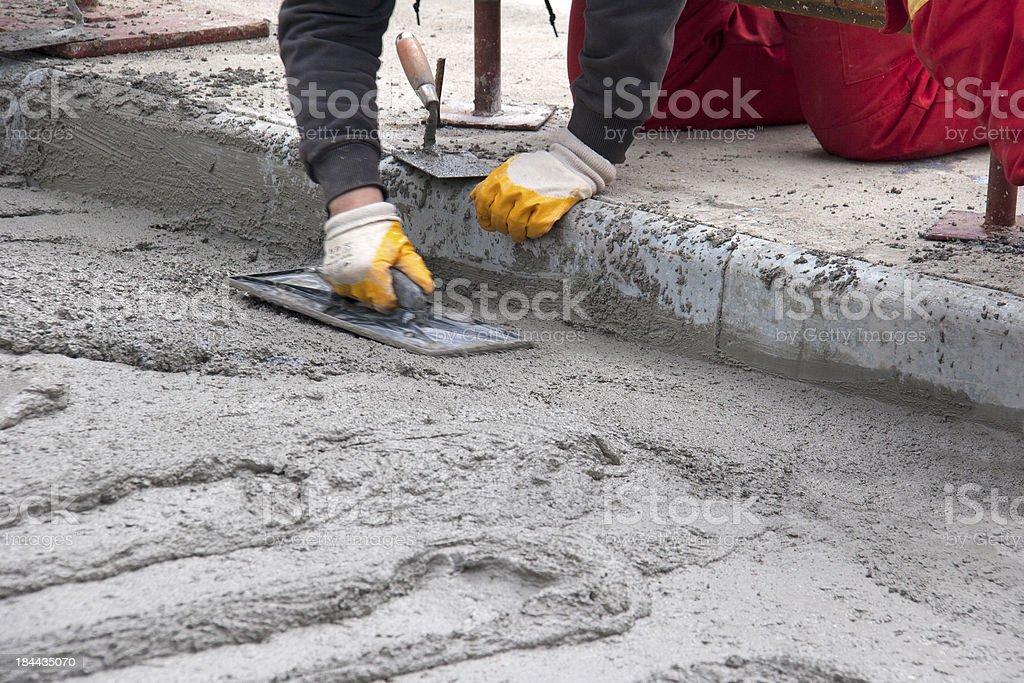 Concreting the road on bridge royalty-free stock photo