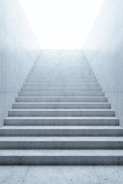 zeitdauer treppe führt nach oben, 3d-rendering - treppe stock-fotos und bilder