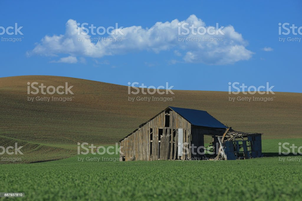 Condemned Barn in Rural in Palouse Washington stock photo