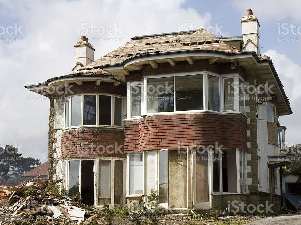 Condemned house, Boscombe, Dorset, England royalty-free stock photo