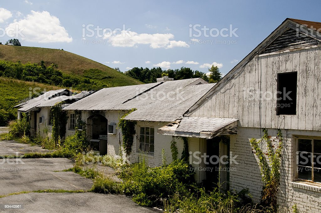 Condemned Row of Buildings stock photo