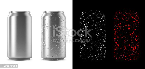 Can with condensation. With little Photoshop skills you can easily replace artwork on this mockup. 4 Images/Passes. Clean single can, can with condensation drops, condensation reflection layer and the condensation red selection.