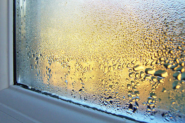 condensation on window glass and frame - condensation stock photos and pictures