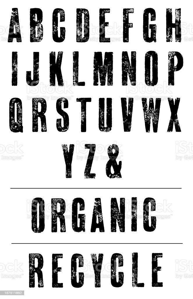 Condensed Letterpress Poster Font - Hand Printed Alphabet stock photo