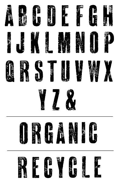 condensed letterpress poster font - hand printed alphabet - letterpress stock photos and pictures
