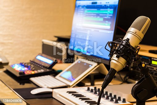 condenser microphone in post production, broadcasting, recording studio