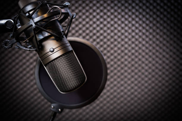 condenser microphone in recording studio, music background - radio station stock photos and pictures