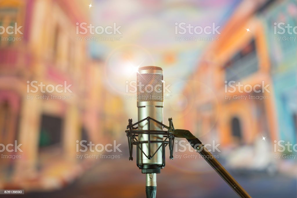 Condenser microphone on stage stock photo