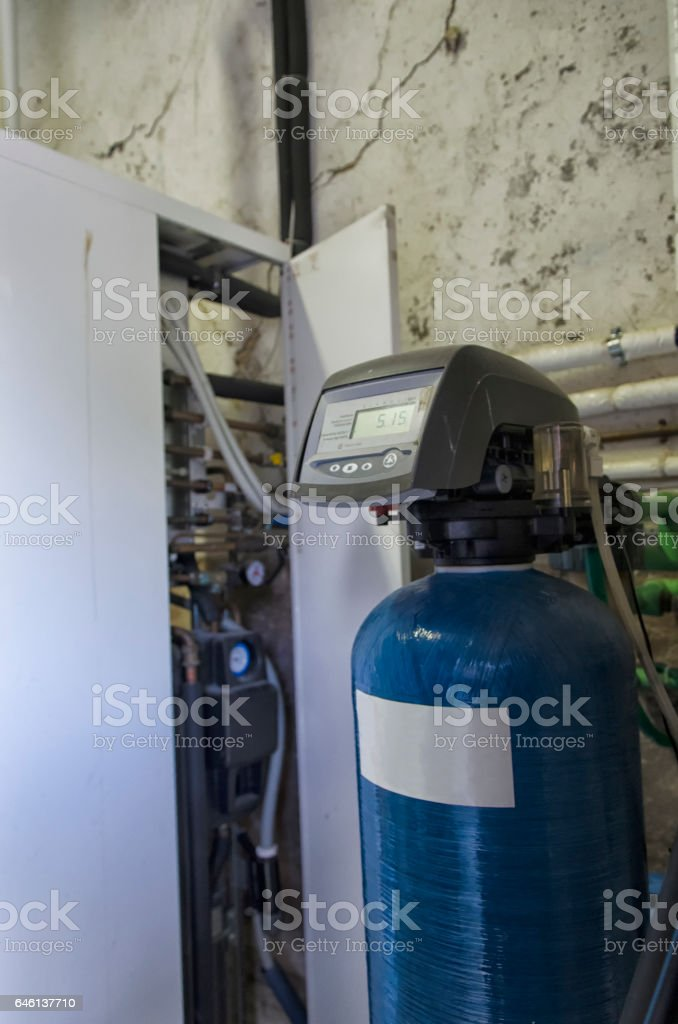 Condensing boiler and softener stock photo
