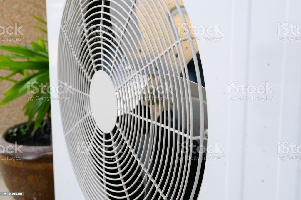 Condensing unit of an air conditioner stock photo