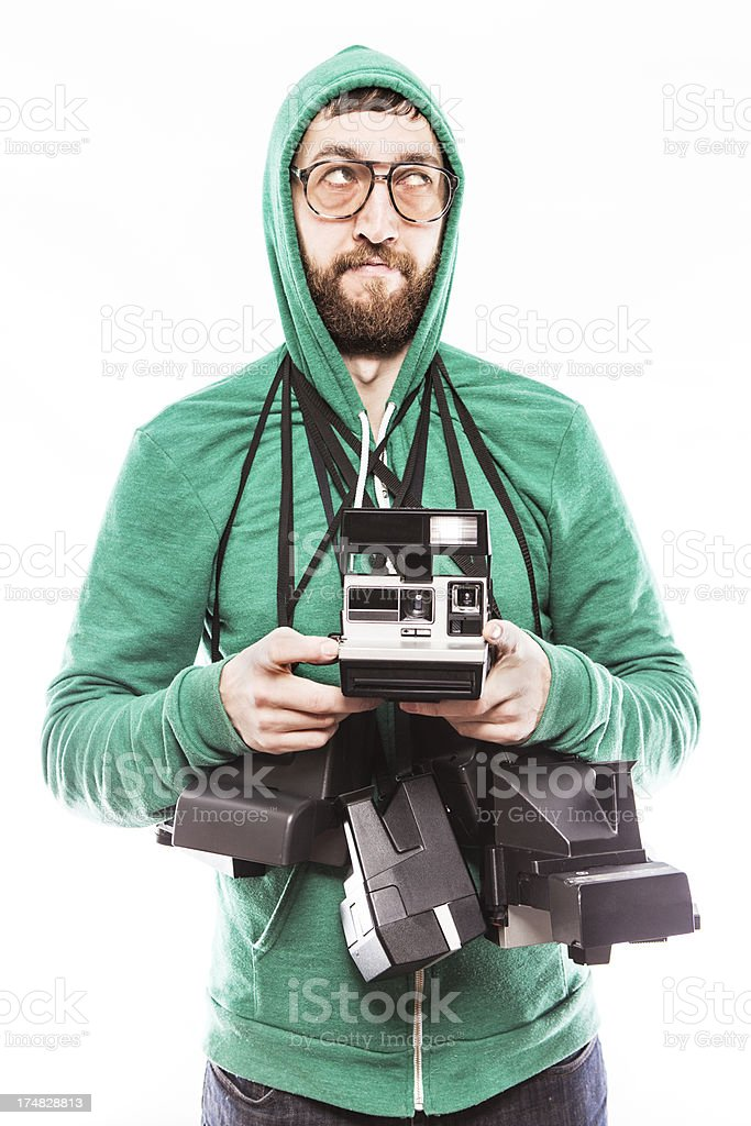 Condescending Hipster Instant Print Guy royalty-free stock photo