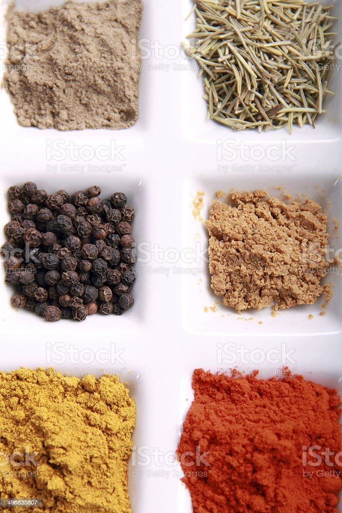 Condiment in compartments & Flavors directly from the above stock photo