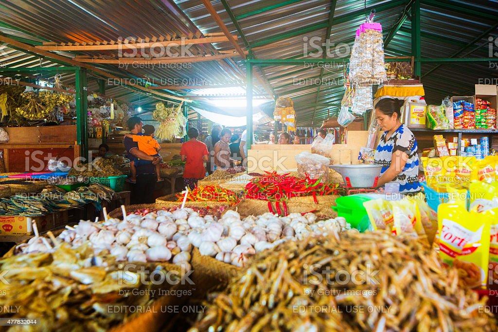 Condiment market stall at Seririt market in Bali Indonesia stock photo