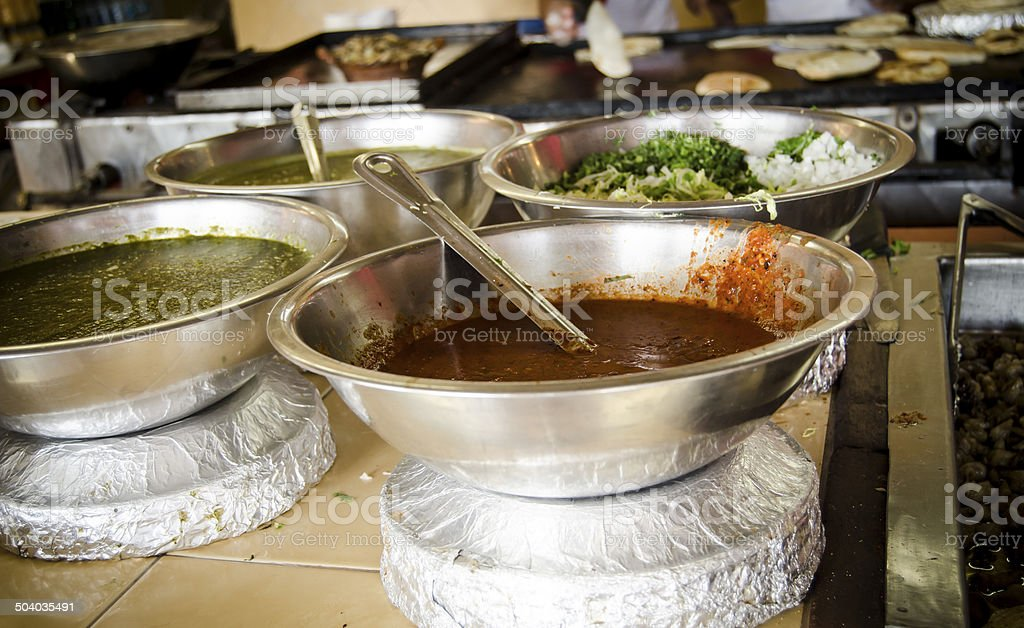 Condiments at a Mexican Taco Stand stock photo