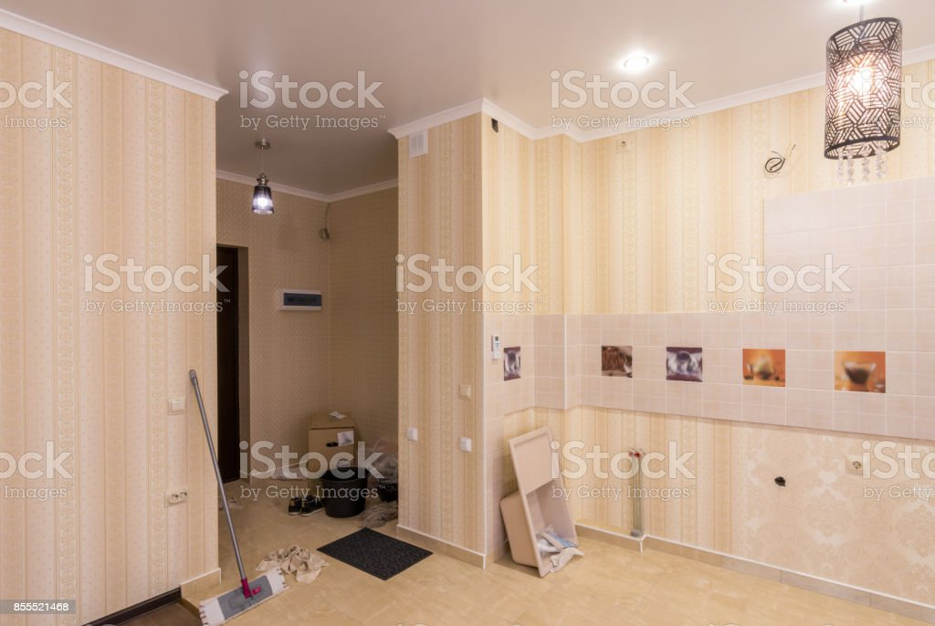 Conditions in the apartment at the stage of completion of repair stock photo
