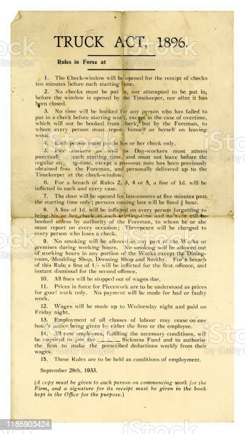 Conditions of employment, 1933, quoting the 'Truck Act' of 1896