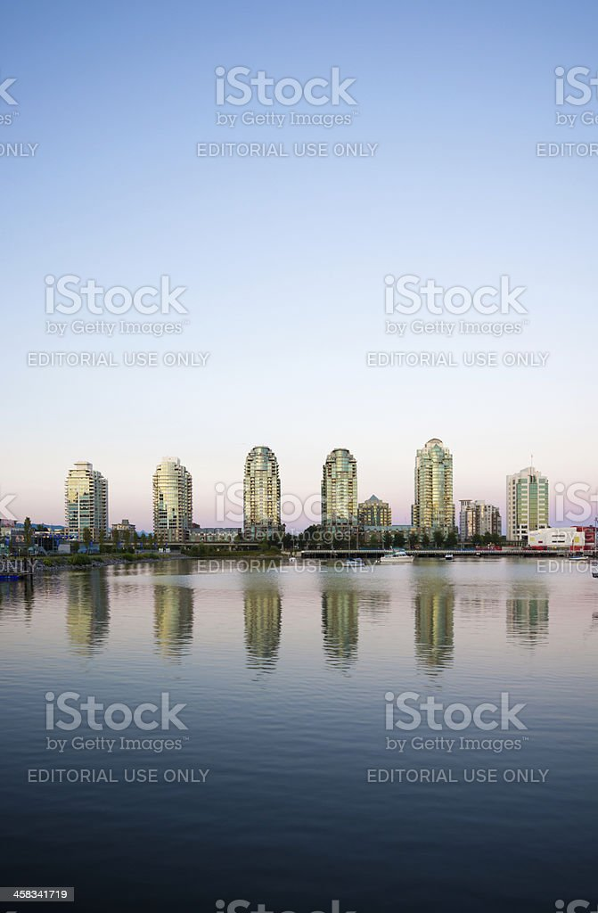 Condo towers next to False Creek in Vancouver, British Columbia royalty-free stock photo