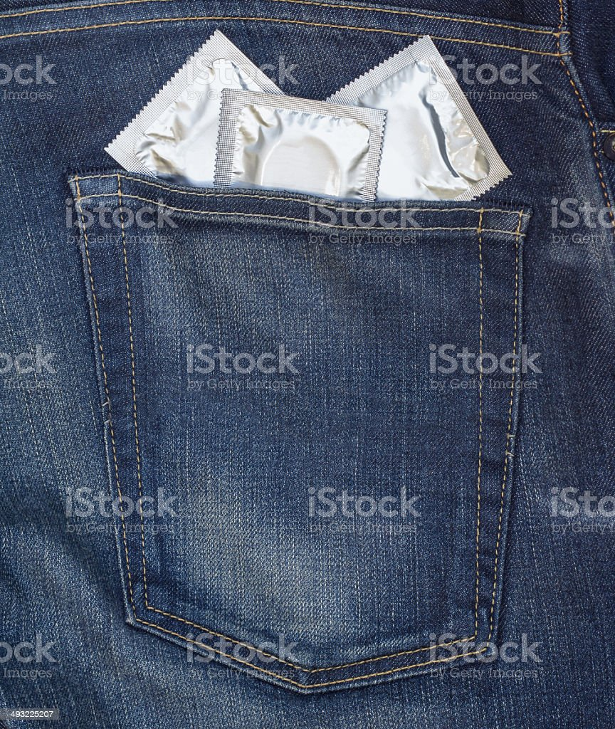 condom in his back pocket royalty-free stock photo
