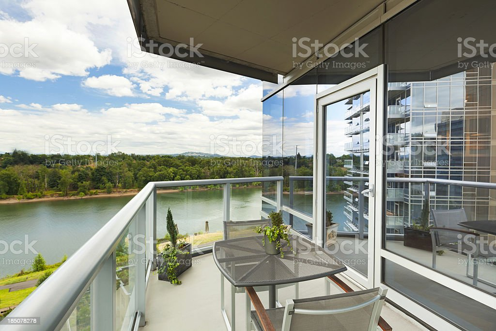 Condominium Balcony with River View royalty-free stock photo