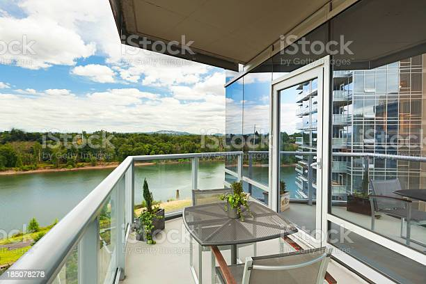 Condominium Balcony With River View Stock Photo - Download Image Now