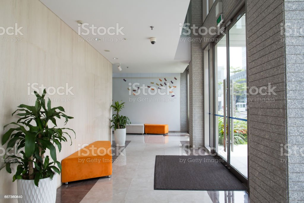Condominium building entrance stock photo