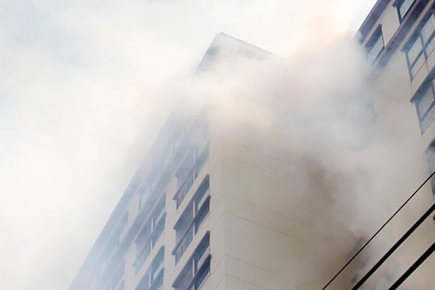 condominium or apartment burning. stock photo